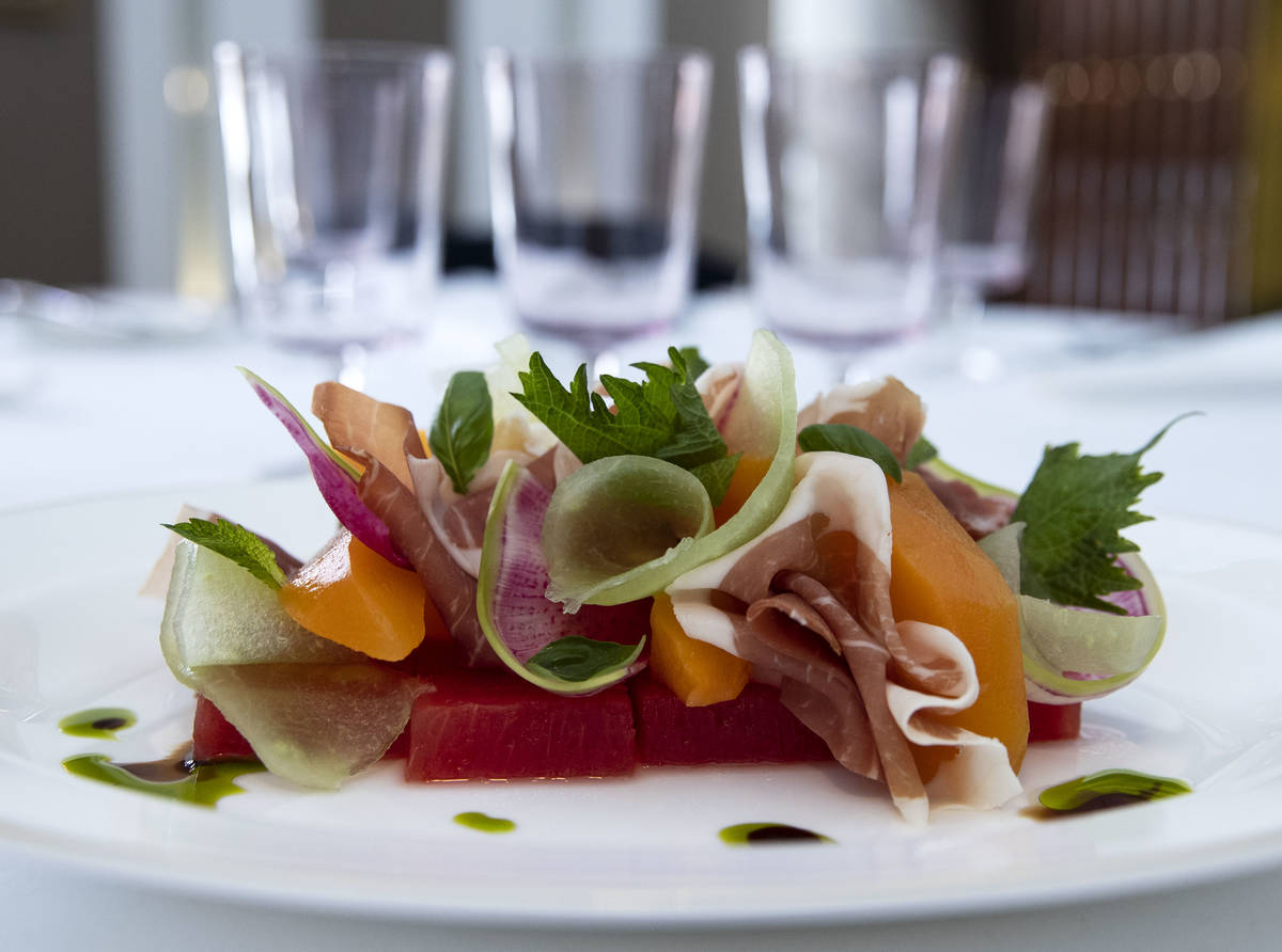 Prosciutto with summer melon is displayed at Delilah Supper Club at Wynn, on Friday, June 18, ...