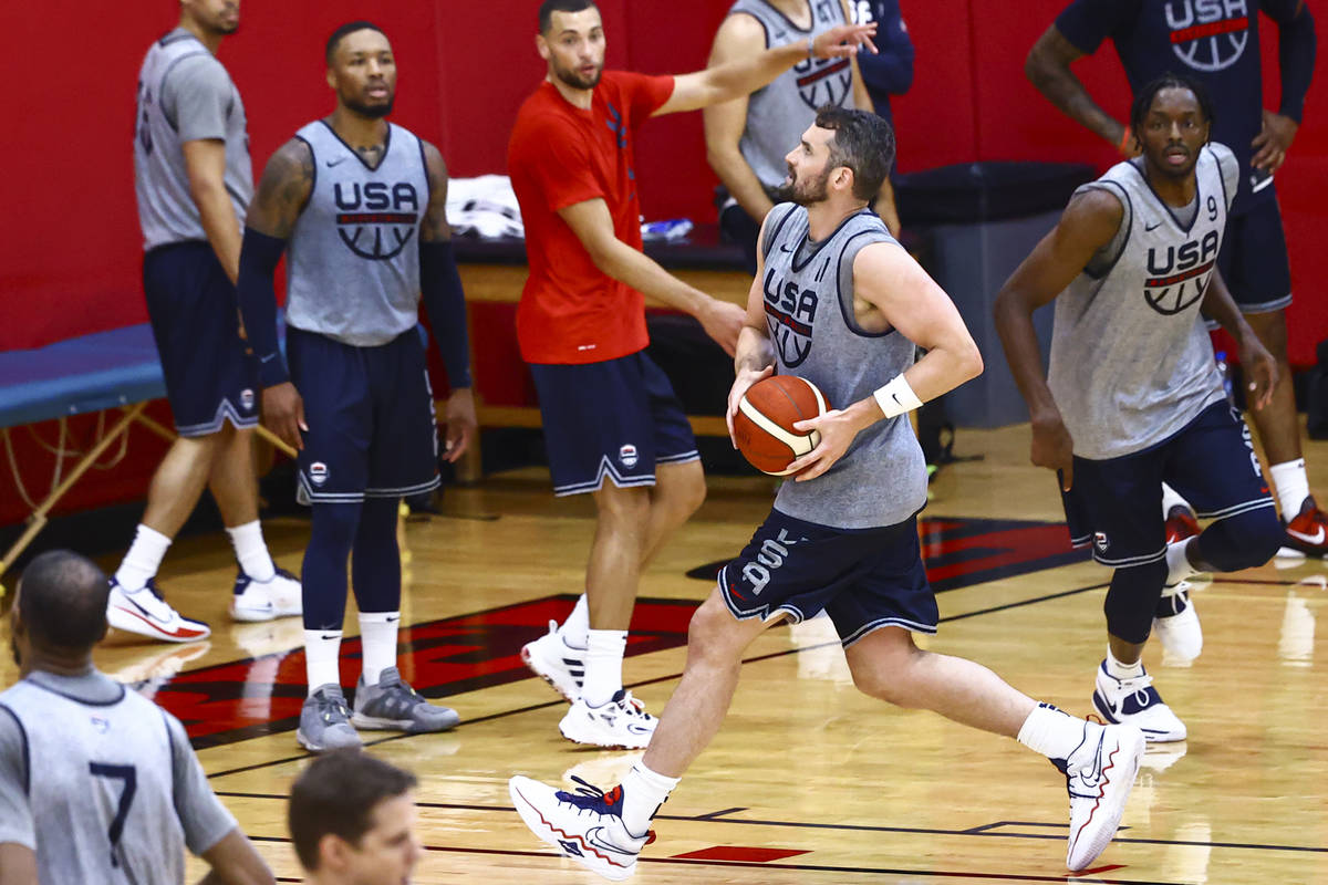 Kevin Love (11) drives to the basket during USA Basketball practice, ahead of the Tokyo OIympic ...
