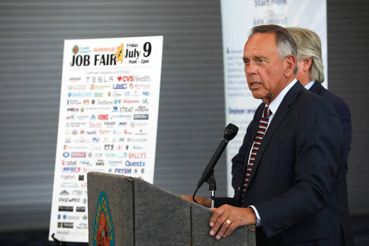 Clark County Commission Vice Chairman Jim Gibson urges the public not to wait until unemploymen ...