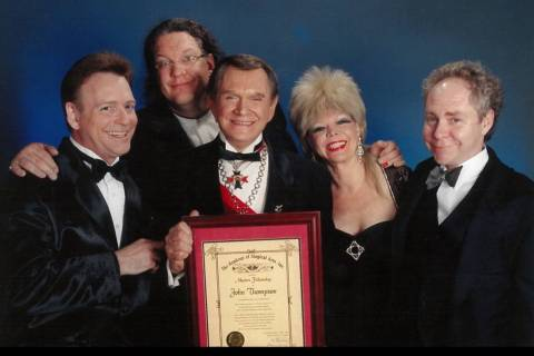 Fielding West, Penn & Teller and Pam and Johnny Thompson are shown in this undated photo. (Penn ...