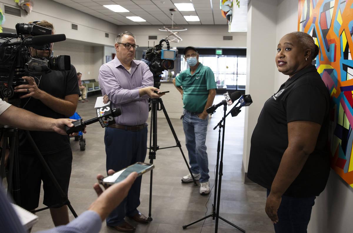 Jocelyn Bluitt, Community Resources manager, addresses the media at Dula Community Center, on M ...