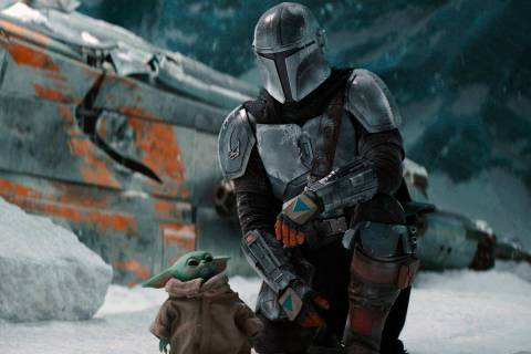 """This image released by Disney+ shows Pedro Pascal in a scene from """"The Mandalorian."""" ..."""