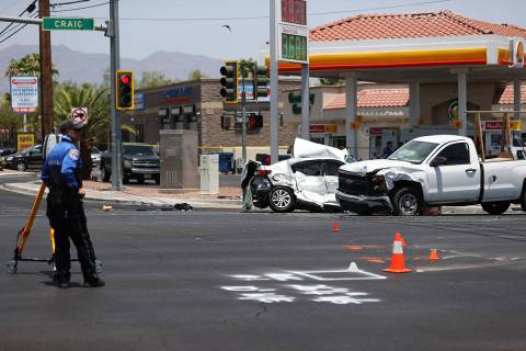The scene of a crash at the intersection of Craig Road and Allen Lane in North Las Vegas, Tuesd ...
