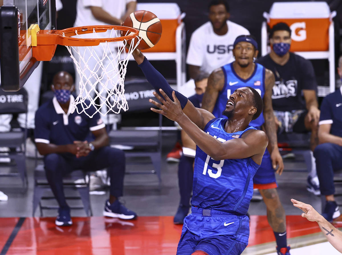 USAÕs Bam Adebayo lays up the ball during the first half of an exhibition basketball game ...