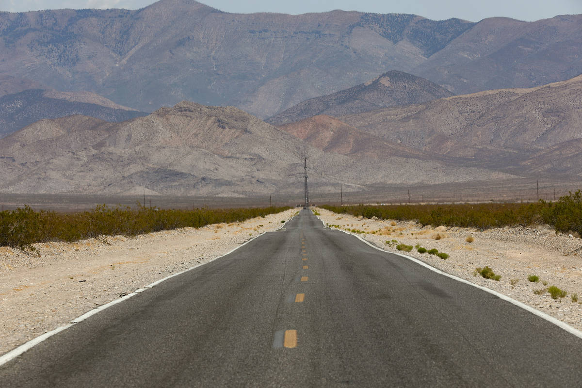 Tecopa Road runs adjacent to the future 3,000-acre solar farm Yellow Pine Solar Project in the ...