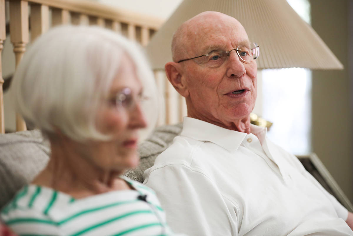 Judy Robinson and her husband Gary Robinson speak to the Review-Journal at their home in Las Ve ...