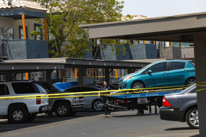 Police at the scene of a homicide on the 1000 block of East Carey Avenue in North Las Vegas Wed ...