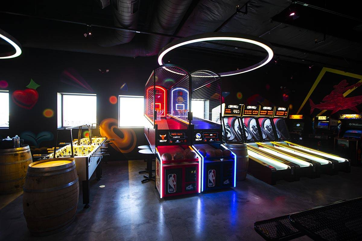 A view of second level of the Emporium arcade bar at Area15 in Las Vegas on Thursday, Feb. 4, 2 ...