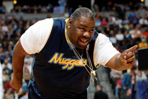 Biz Markie performs for fans during halftime of the Denver Nuggets win over the Phoenix in Denv ...