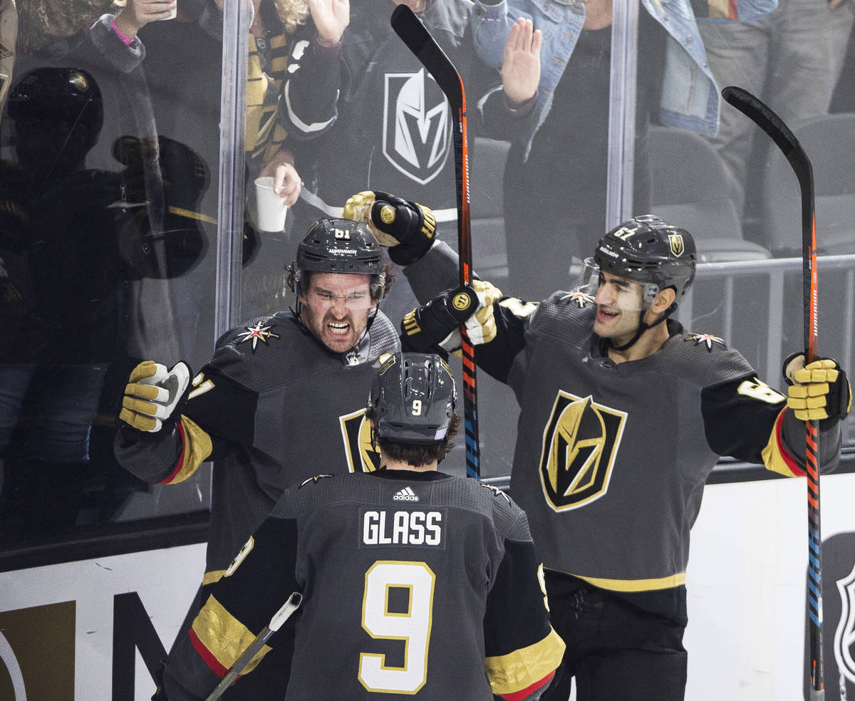 Vegas Golden Knights right wing Mark Stone (61) celebrates his third period goal with Vegas Gol ...