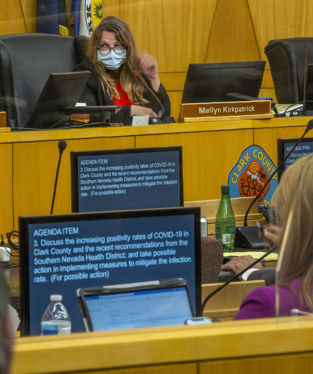 Clark County Commission Chairman Marilyn Kirkpatrick during a Clark County Commission meeting t ...