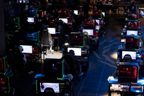 """Players compete during the Fortnite tournament """"Friday Night Frags"""" at the HyperX Esports Arena ..."""