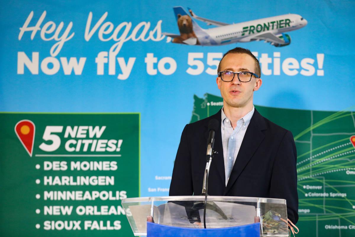 Daniel Shurz, senior vice president of commercial Frontier Airlines, announces that five new no ...