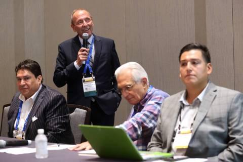 Moderator Andrew Klebanow of Klebanow Consulting in Las Vegas, standing, speaks during the &quo ...