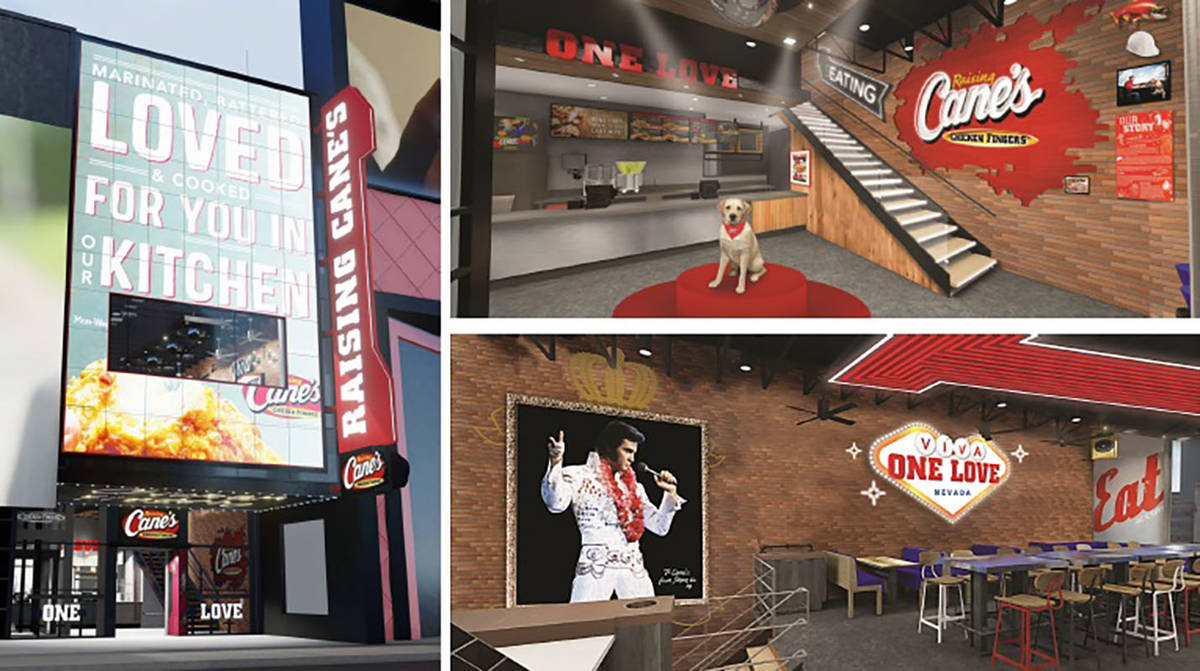 The exterior video board planned for Raising Cane's on the Strip. (Raising Cane's)