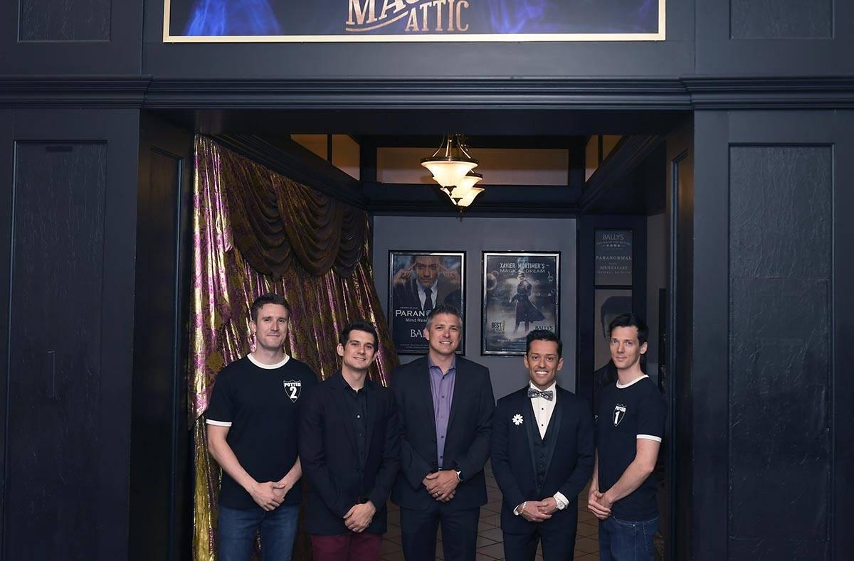 The lineup at The Magic Attic at Bally's: Brendan Murphy, far left, and Scott Hoatson, far righ ...
