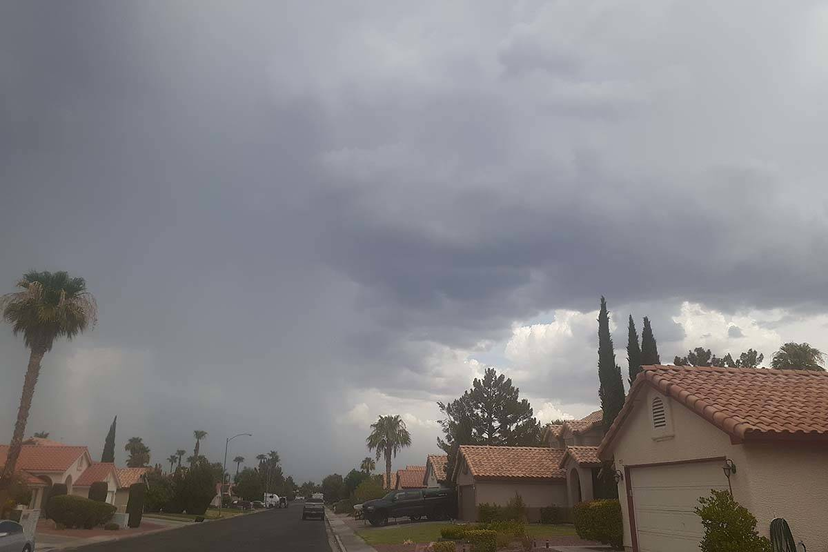 Rain storms move through the Las Vegas Valley on Thursday, July 22, 2021, including near the 21 ...