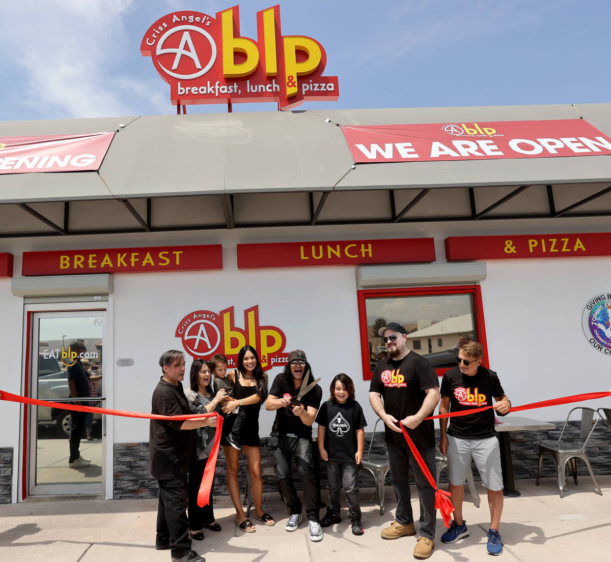 Criss Angel cuts the ribbon at his new restaurant, CABLP, in Overton during the grand opening F ...