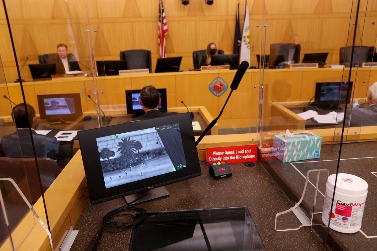 Aerial video is shown during a fact-finding review at the Clark County Government Center in Las ...