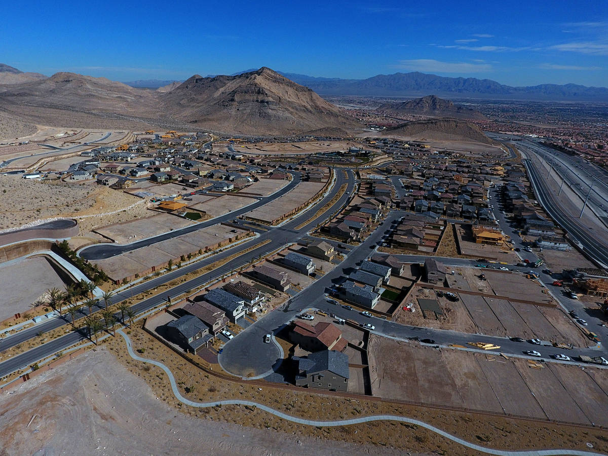 Aerial photo of the Reverence community by Pulte Homes in Summerlin, Nevada on Tuesday, Februar ...
