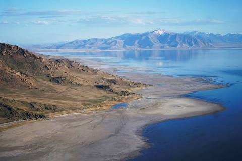 The Great Salt Lake recedes from Anthelope Island on May 4, 2021, near Salt Lake City. (AP Pho ...