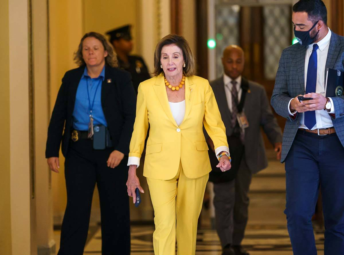 Speaker of the House Nancy Pelosi, D-Calif., walks to her office as the select committee on the ...