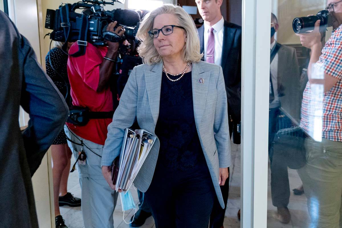 Rep. Liz Cheney, R-Wyo., leaves a meeting of the select committee on the Jan. 6 attack as they ...