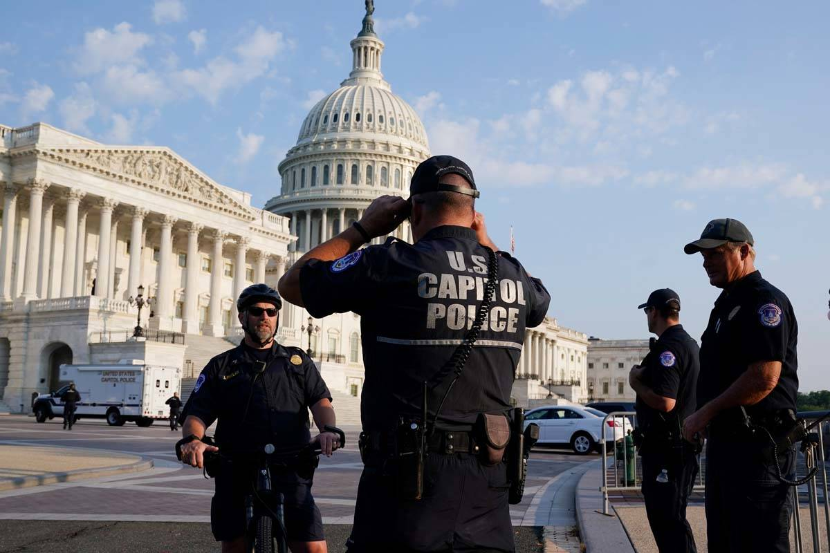 The U.S. Capitol is seen in Washington, early Tuesday, July 27, 2021, as U.S. Capitol Police wa ...