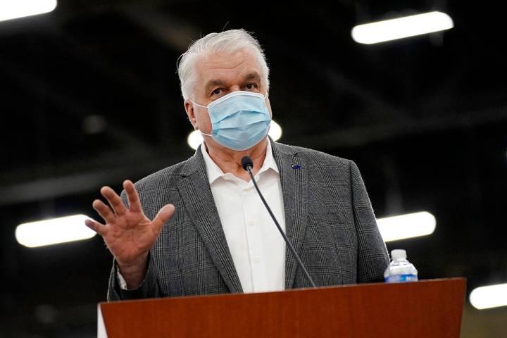 Nevada Gov. Steve Sisolak speaks during a news conference in Las Vegas in April 2021. (AP Photo ...