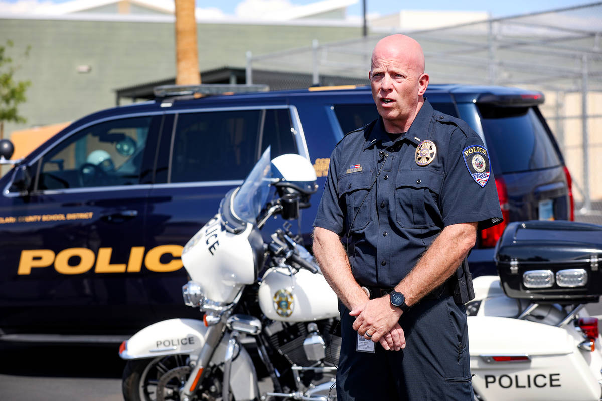 Bryan Zink, public information officer for the Clark County School District Police Department, ...