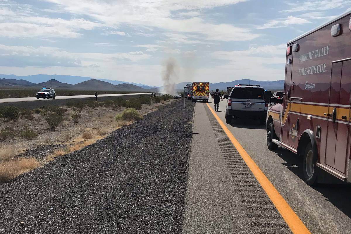 """Nye County officials respond to a """"downed aircraft"""" on U.S. 95 on Wednesday, July 28, 2021. (Ny ..."""
