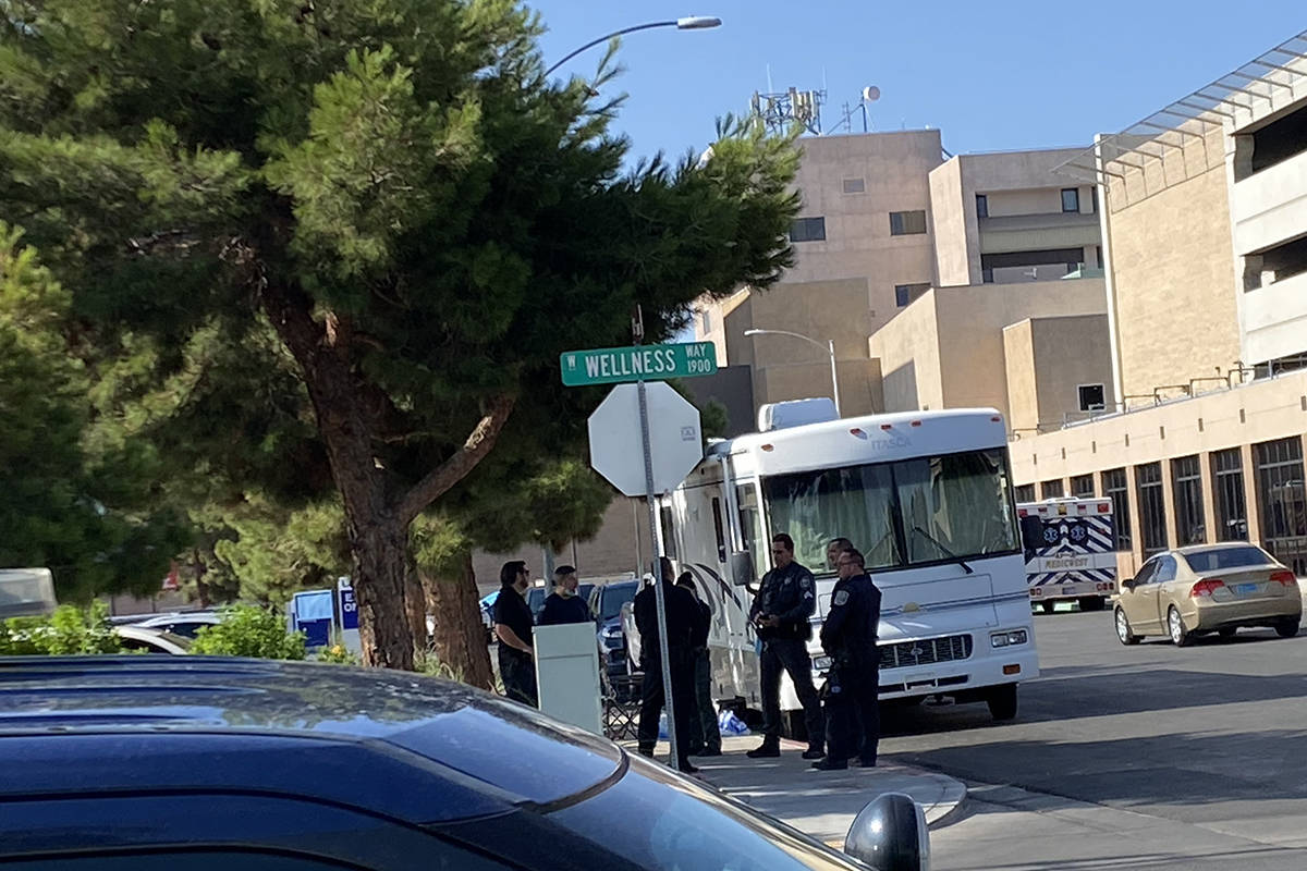 Nevada Highway Patrol troopers gather outside University Medical Center on Wednesday, July 28, ...