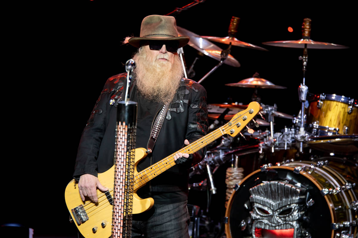Dusty Hill of ZZ Top plays during the group's opening of an eight-show extended engagement at T ...