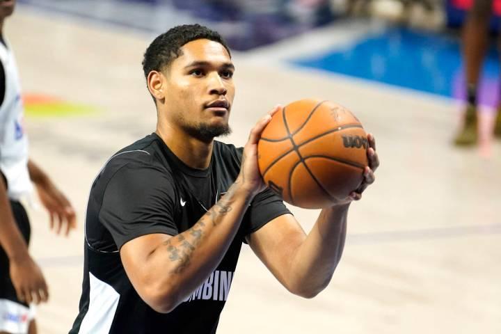 Daishen Nix participates in the NBA Draft Combine at the Wintrust Arena Thursday, June 24, 2021 ...