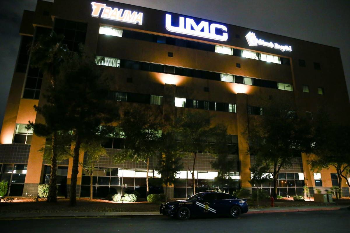 A Nevada Highway Patrol car is seen in front of University Medical Center on Thursday, July 29, ...