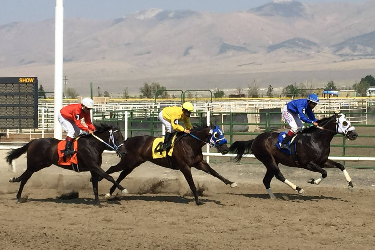 Down the stretch they come at the White Pine Races on Sunday, August 19, 2018 in Ely. (Mike Bru ...