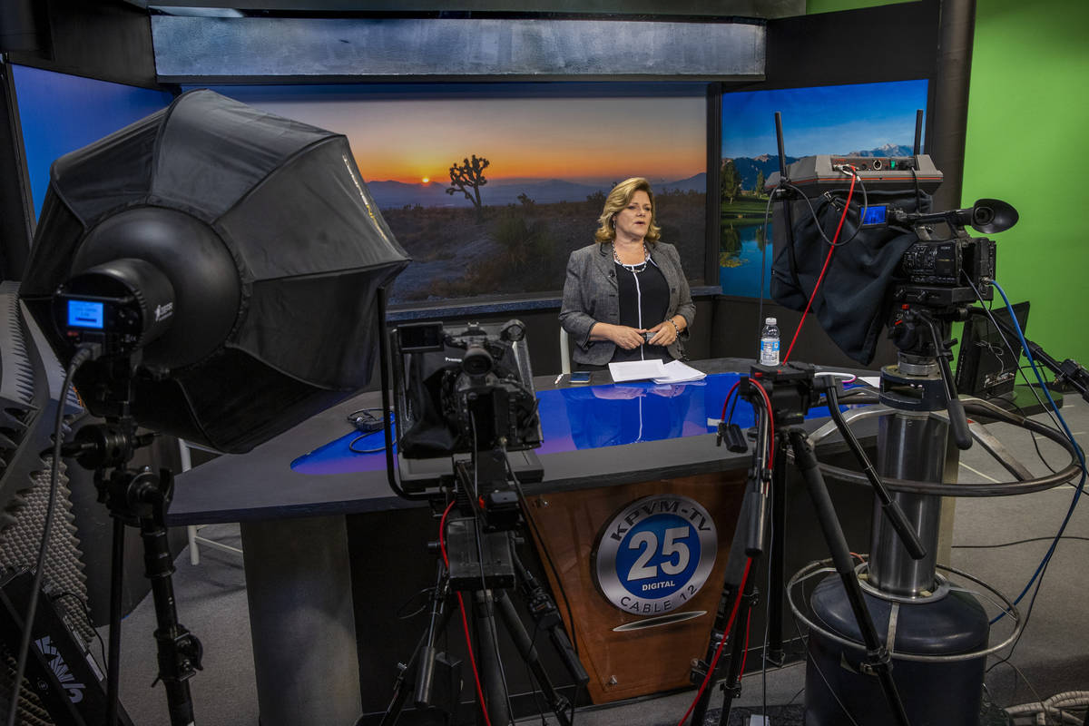KPVM 25 News Director/Anchor Deanna O'Donnell records her daily broadcast, the station is the s ...