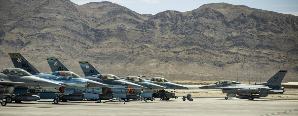 Painted F-16 fighter jets are prepared to be the ÒaggressorsÓ as a Òfriendly&#xd ...