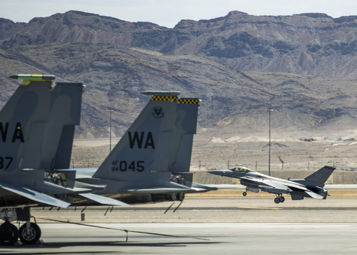 Nellis Air Force Base hosting a RED FLAG exercise on Thursday, July 29, 2021, in Las Vegas. (L ...