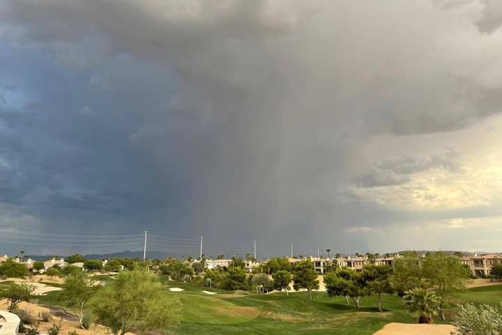 Dark clouds over the Summerlin area on Thursday, July 29, 2021. The National Weather Service sa ...