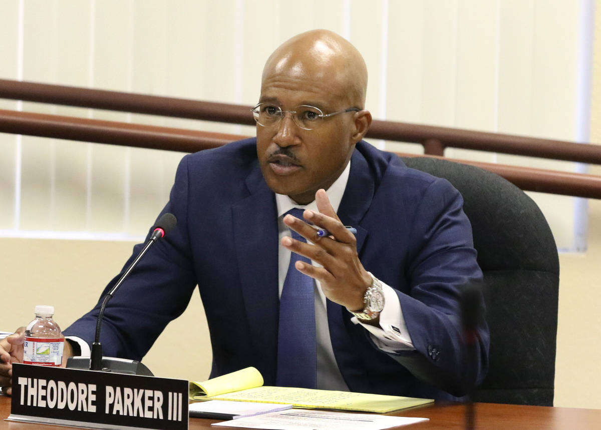 The Southern Nevada Regional Housing Authority legal counsel, Theodore Parker, speaks during a ...
