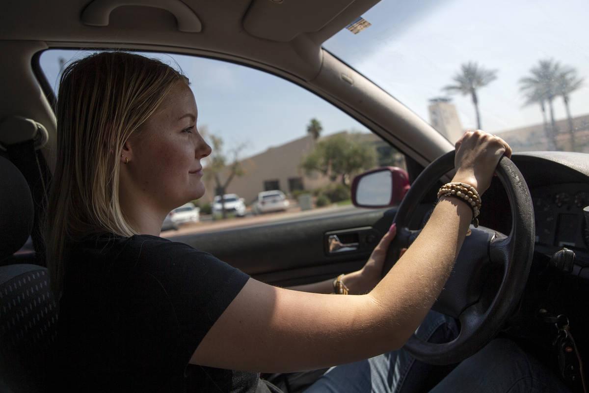 Kylee Tobler drives past Mesquite City Hall while on her way home on June 16, 2021. Tobler stil ...