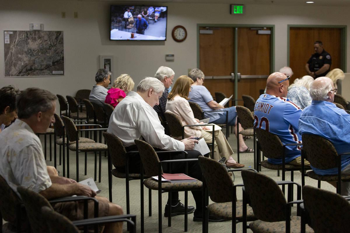 People attend a City Council meeting at Mesquite City Hall on June 8, 2021. (Ellen Schmidt/Las ...