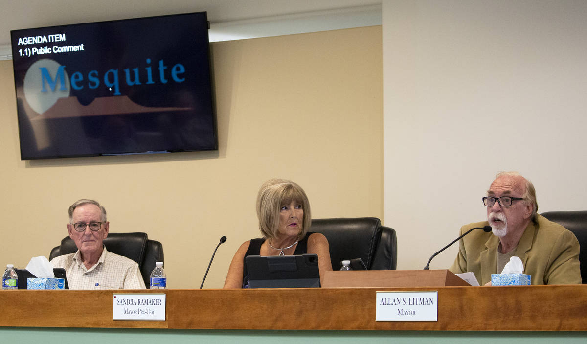 From left, Mesquite City Councilman George Gault, Mayor Pro-Tem Sandra Ramaker and Mayor Allan ...