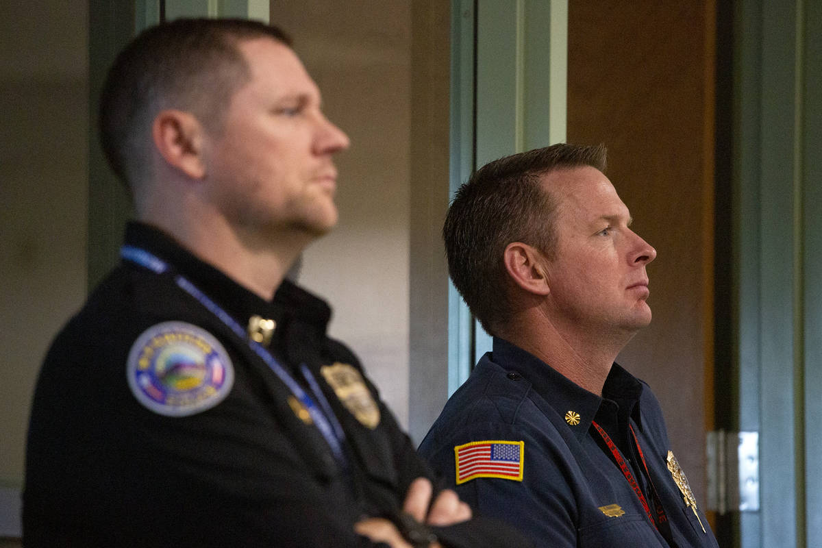 Mesquite fire Chief Jayson Andrus, right, listens during a Mesquite City Council meeting on Jun ...