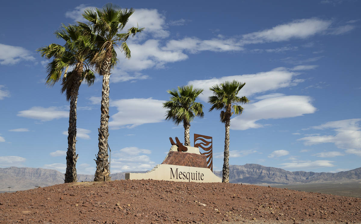 A roundabout features a Mesquite city sign on June 2, 2021. The desert town located about 80 mi ...