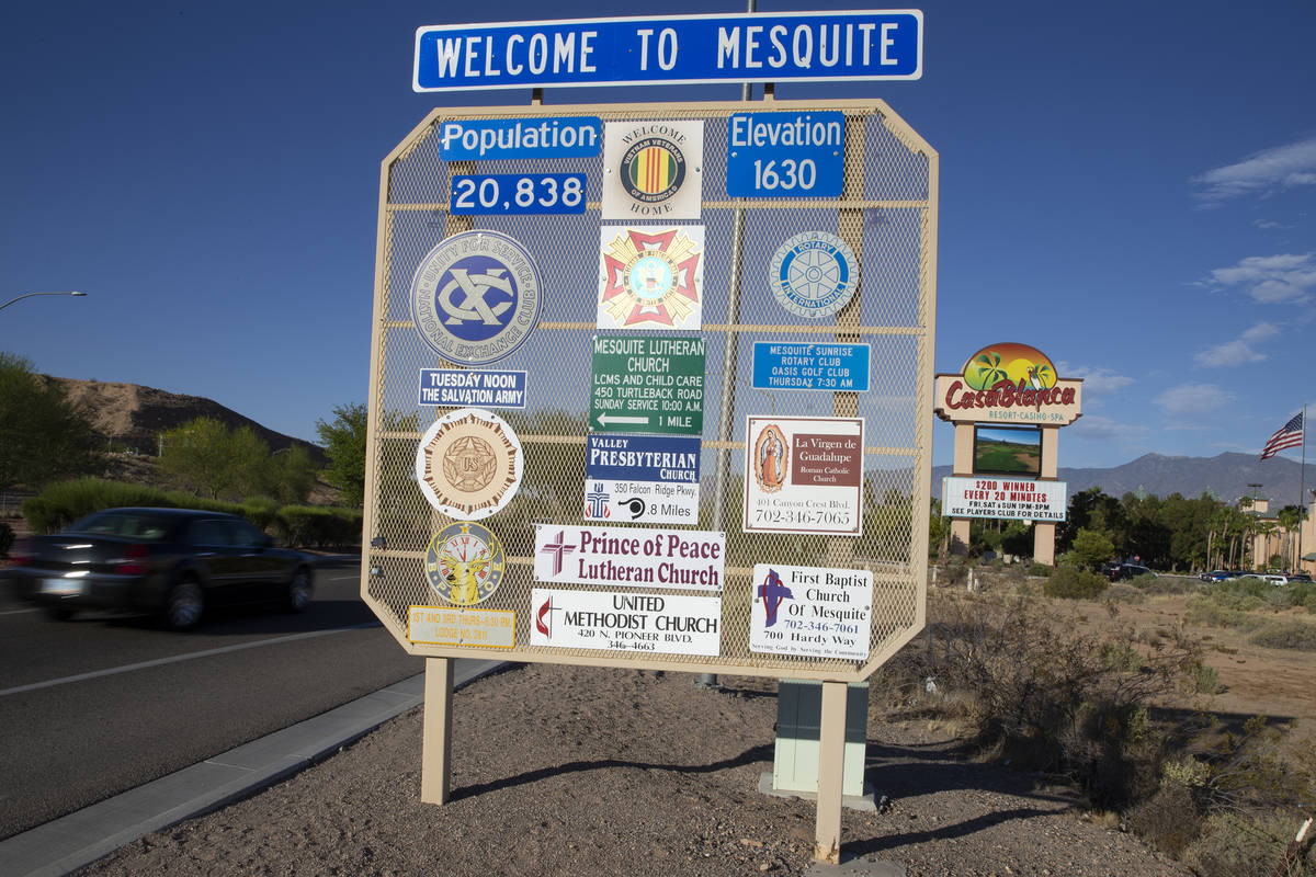 A sign welcomes drivers into Mesquite, a desert town in northeast Clark County, Nevada. (Ellen ...