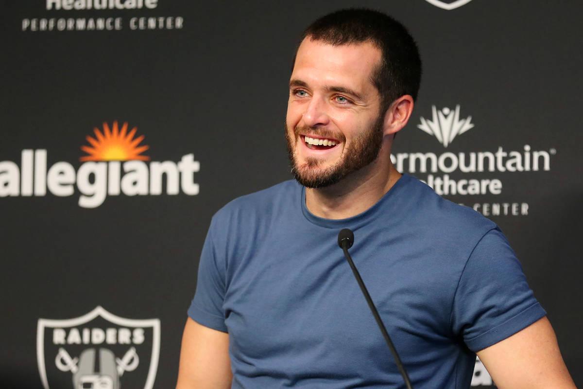 Las Vegas Raiders quarterback Derek Carr (4) is interviewed following a team practice at the Ra ...