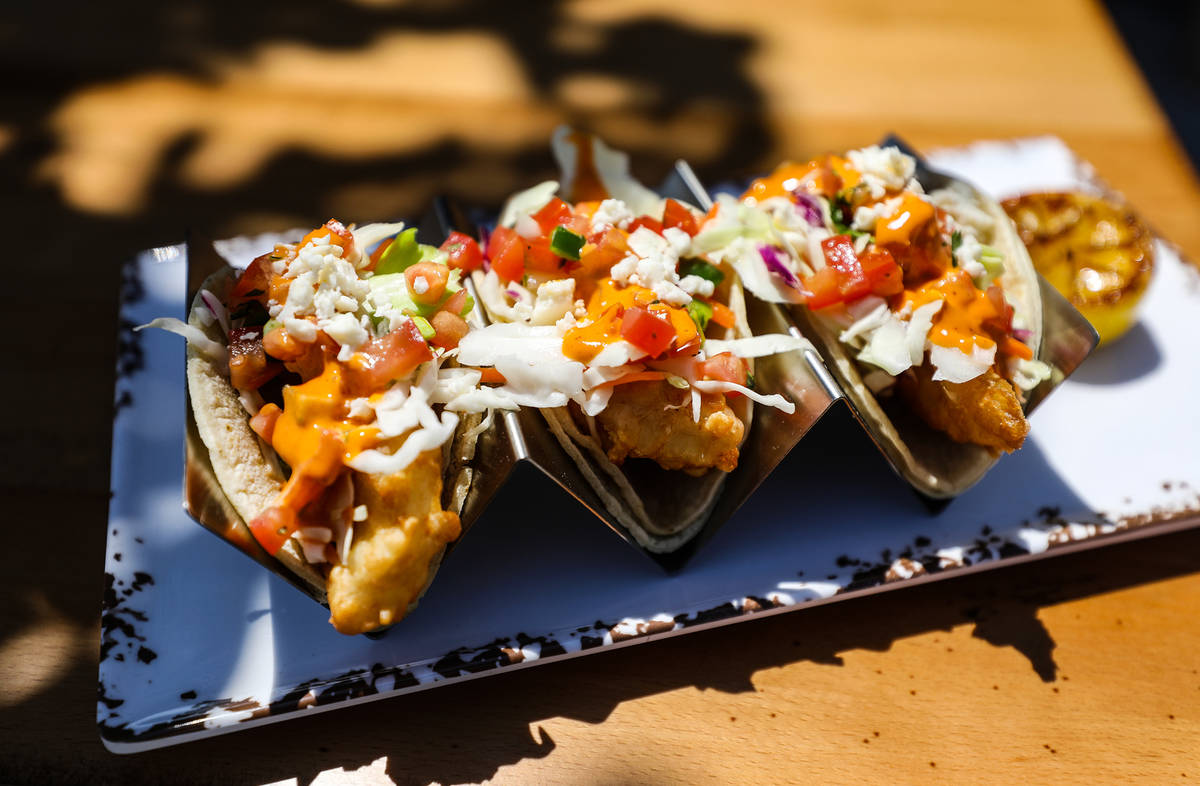 Fish tacos from the menu at the new PKWY Tavern in Henderson, Thursday, Aug. 5, 2021. This will ...