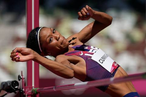 Vashti Cunningham, of the United States, competes in the qualification rounds of the women's hi ...